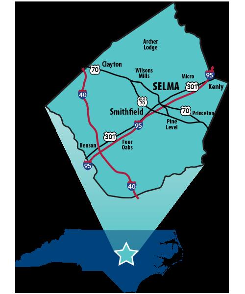Selma NC Map